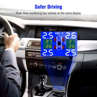 Car Tire Pressure Monitor System Wireless Real time LCD Display Alarm with 4pcs External Sensor V Best