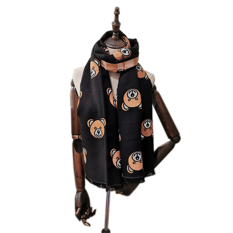 Winful Winter Warm Women Imitation Cashmere Scarf Brand Design Lady's Tassel Scarves Cute Bear Shawl Fashion Thick Scarfs