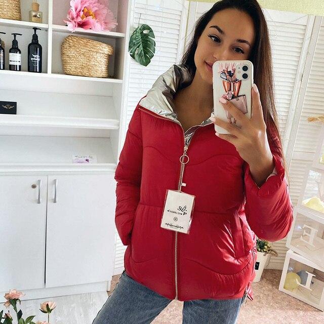 Veste parka pour femmes, en tissu mat, épais et chaud, solide, 2020, décontracté automne hiver veste zippée 1