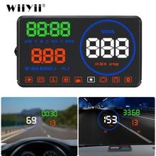 WiiYii M9 HUD عرض سيارة 5.5 بوصة الزجاج الأمامي العارض OBD2 سيارة القيادة عرض البيانات سرعة RPM استهلاك الوقود إنذار الأمن