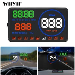 Image 1 - WiiYii M9 wyświetlacz samochodowy HUD 5.5 Cal wyświetlacz parametrów wozu na szybie OBD2 wyświetlacz danych jazdy samochodem prędkość RPM zużycie paliwa Alarm bezpieczeństwa