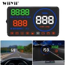 Wiiyii m9 carro hud display 5.5 Polegada windscreen projetor obd2 condução carro exibição de dados velocidade rpm consumo combustível alarme segurança