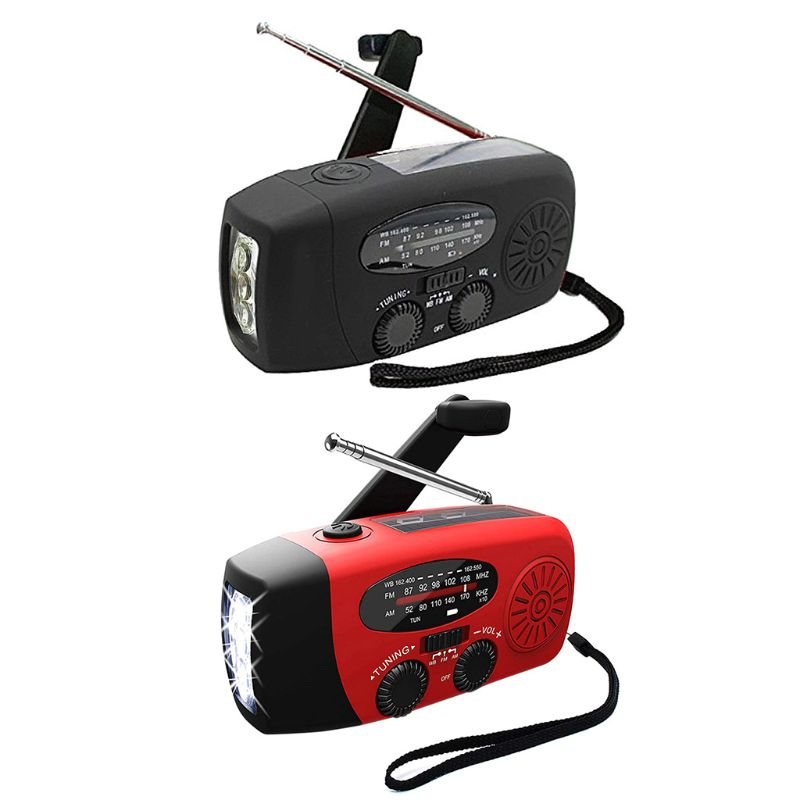 Solar Emergency Hand Crank Radio NOAA SAM FM WB Weather 3 LED Flashlight Phone Charger