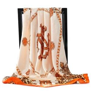 Image 5 - 2020 90*90 Cm Vuông Nữ Khăn Choàng Cổ Lụa Công Sở Nữ Tóc Cổ Bandanna Đầu Foulard Headcloth Hồi Giáo Khăn Trùm Đầu nữ