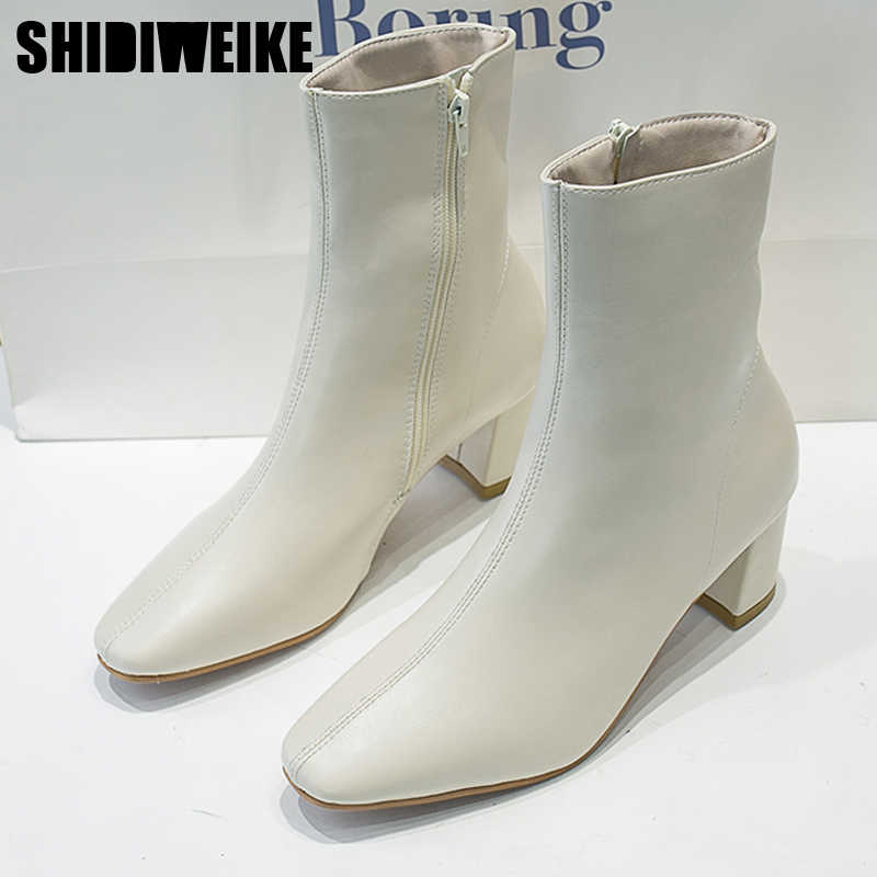 2020 Fashion new Women Boots Square Toe Yarn PU leather Ankle Boots Thick Heels Winter Female Boots x390