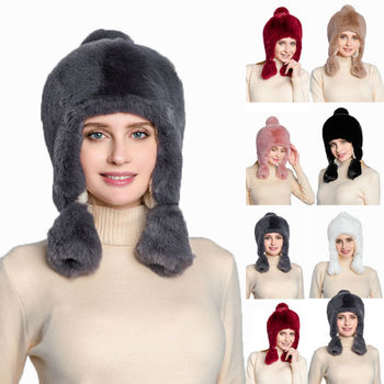 Fashion Women Bomber Hats Fur Leather Plush Hat Winter Spring Warm Thick Hat Ski Cap Russian Cossack Trapper Ear Flap image