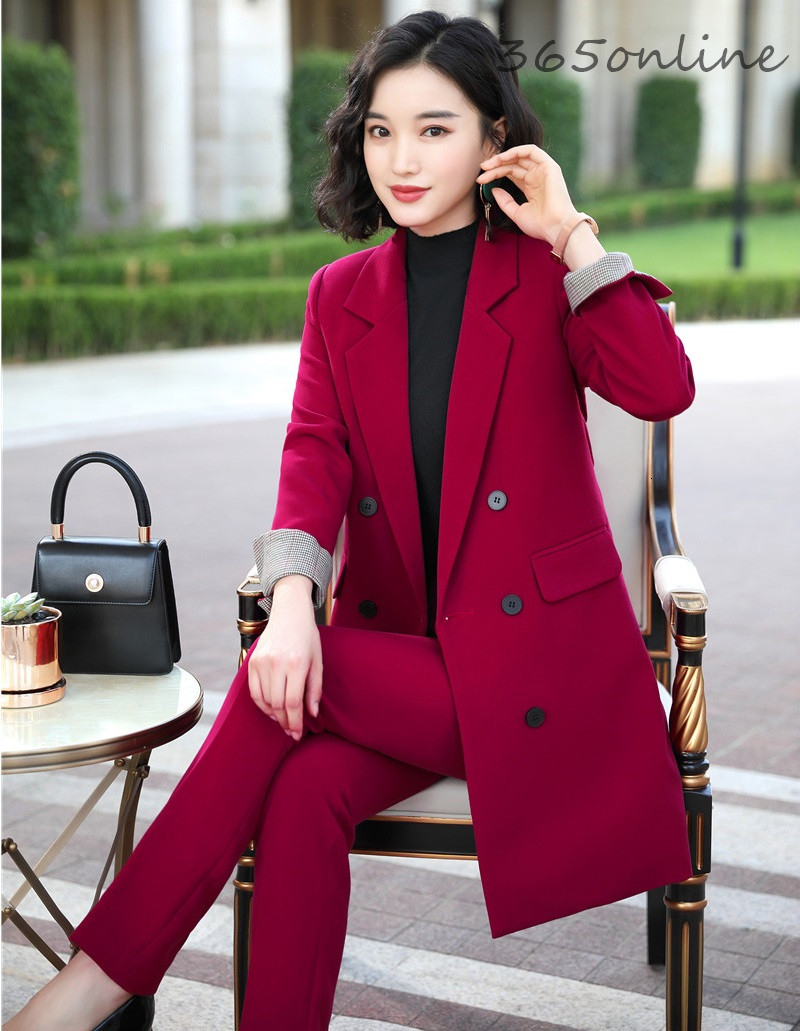 Fashion Styles Autumn Winter Formal Uniform Designs Women Business Suits Professional Pantsuits Office Ladies Work Wear Blazers