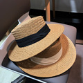 red same summer men's and women's hand woven wide brim flat brim hat for sun protection and holiday beach sun straw hat