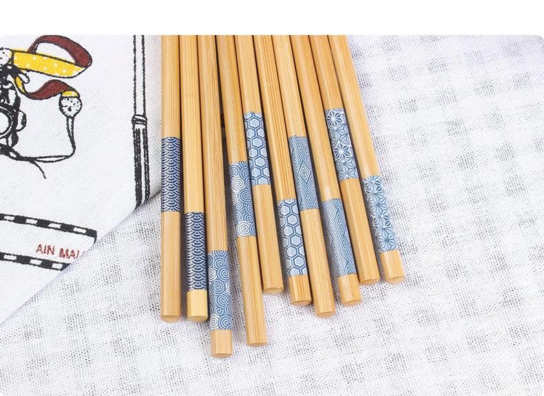 Купить 10 пар японских палочек для еды из натурального дерева синие