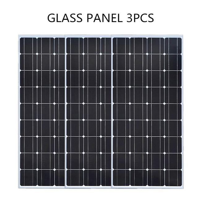 Glass Solar panel 200W equal 2pcs of 100W Monocrystalline solar cell 12V solar charger mono solar panel RV Home Boat 300W 400W 2