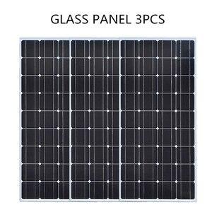 Image 2 - De vidrio de panel Solar 100W 200W 300W 400W rígido Panel Solar monocristalino de la célula solar 12V 12V cargador de batería solar casa techo barco