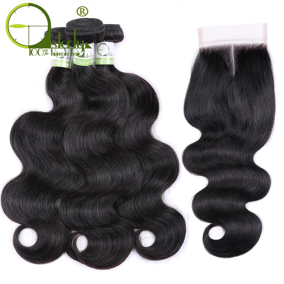 Feixes de cabelo humano sterly com 5*5 fechamento tecer cabelo brasileiro pacotes e 5*5 pacotes de onda do corpo do fechamento do laço com fechamento