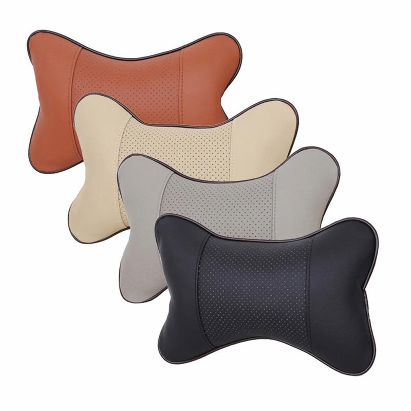 1Pcs Quality PVC Leather Breathable Mesh Headrest Neck Pillow Car Auto Seat Cover Car Decoration Car Interior Accessories