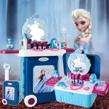 Princess Pretend Play Toy Makeup Table Frozen Elsa Makeup Table Toys Set Deformation Dressing Table Toys Set For Girls Gift