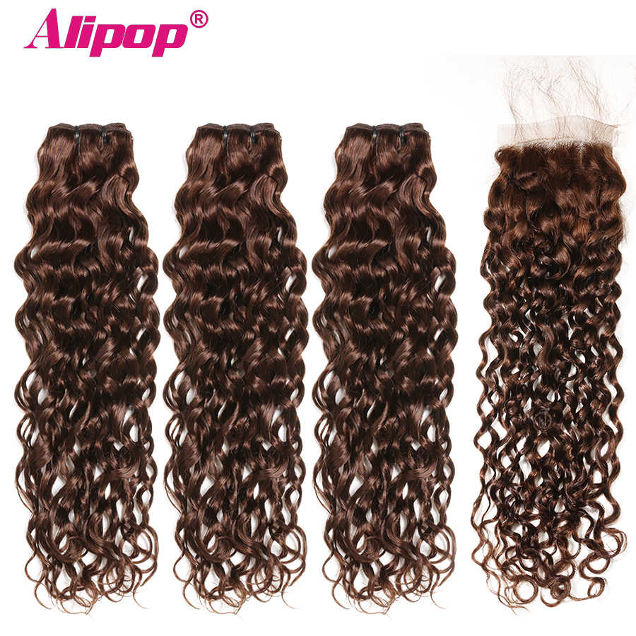 Brazilian Water Wave Bundles With Closure Light/Dark Brown Colored Human Hair Bundles With Closure Baby Hair Non Remy ALIPOP