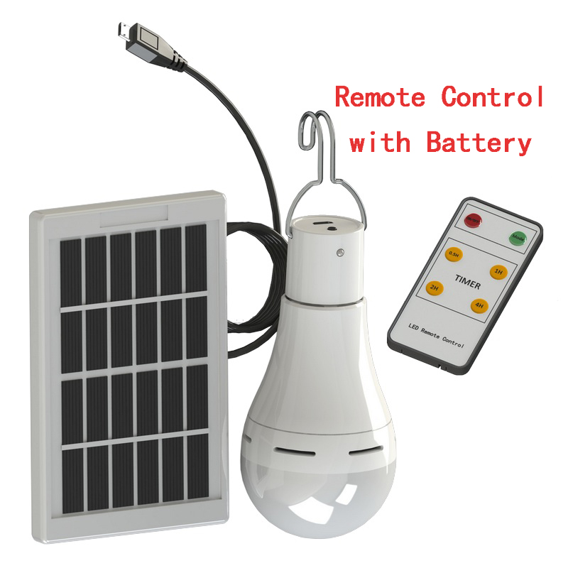 LED Solar Remote Control Light Solar Bulb Lamp Indoor Waterproof Panel Emergency Plastic Bulb Hook Tent Lantern Outdoor