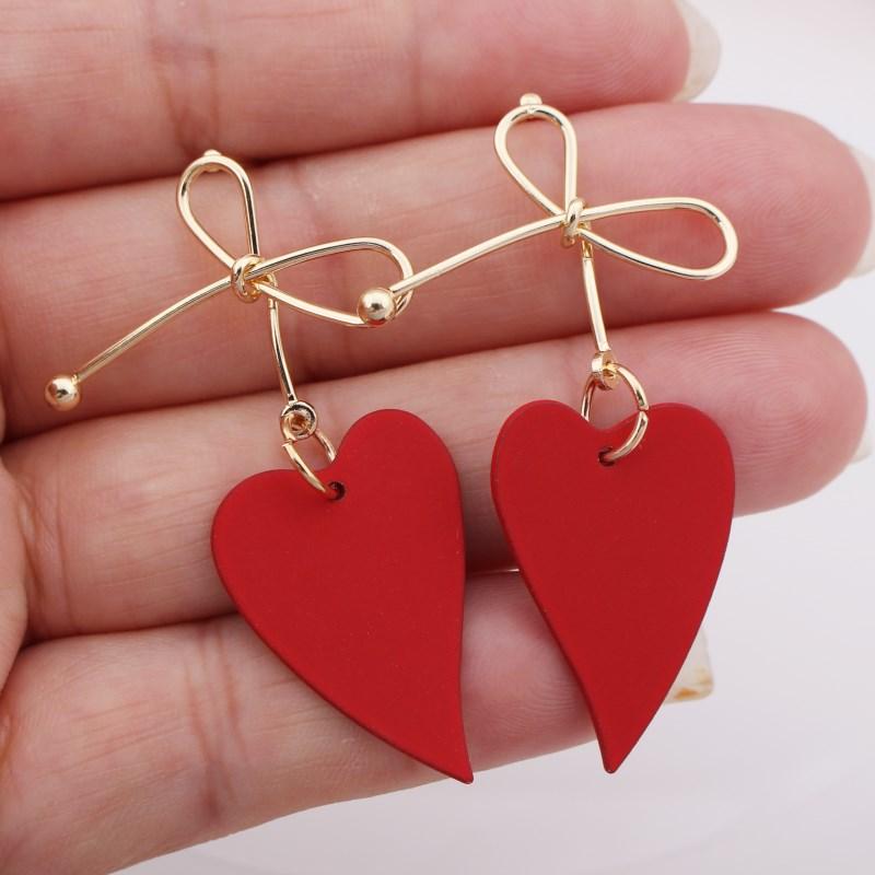 EK537 New Fashion Metal Painted Waterdrop Heart Pendant Earrings For Women Handmade Sweet Wedding  Jewelry Christmas Gift
