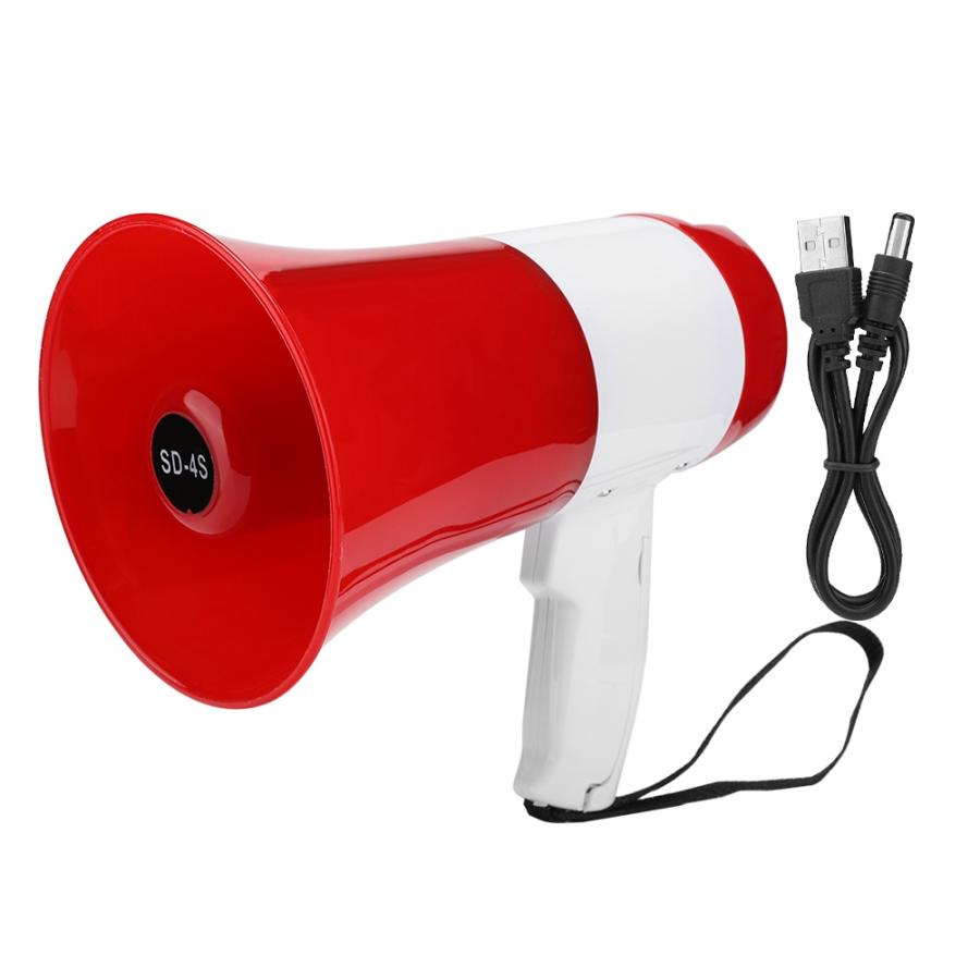 Portable Speaker Handheld Megaphone Grip Loudspeaker Record Play With Siren