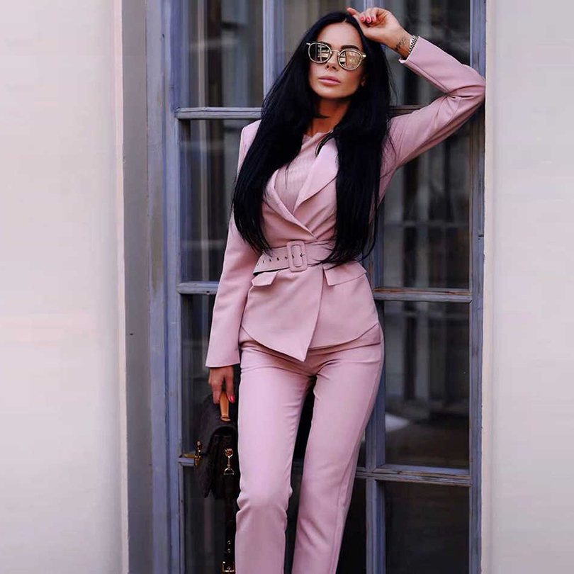 TAOVK Women Blazers Pants Suits Elegant Slim Long Sleeve Sashes Jacket And Trousers Office Ladies Work Wear Sets