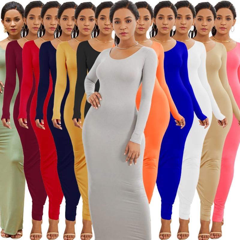 Colorful Long Sleeve O Neck Stretchy Long Dress 2019 Spring Autumn Women Solid Casual Elegant Robe Bodycon Maxi Dresses Vestidos