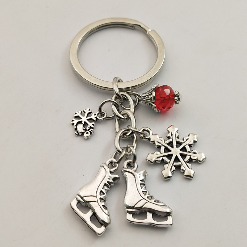 1pc Snow Keyring Red Bead Key Chain Keychain Jewelry Antique Silver Ice Blades Charms Skates Pendant Winter Jewelry