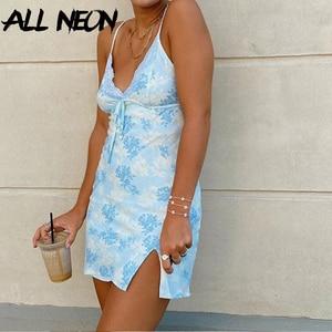 ALLNeon Y2K Fashion Spaghetti Strap Lace Cami Dresses E-girl Sweet Bandage Front Deep V Slit Hem Printing Mini Dress Vintage 90s