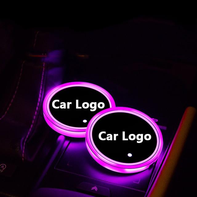 Lumières colorées datmosphère de support de tasse de lumière de Logo de voiture pour la Jeep