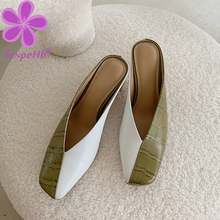 wetkiss plus size 33 43 high quality 2018 genuine leather women slippers square low heel summer solid color mules women shoes Summer Slippers Women High Heel Real Leather Mules Shoes Slip On Girls Footwear Square Head Female Slides Outdoor Color Matching
