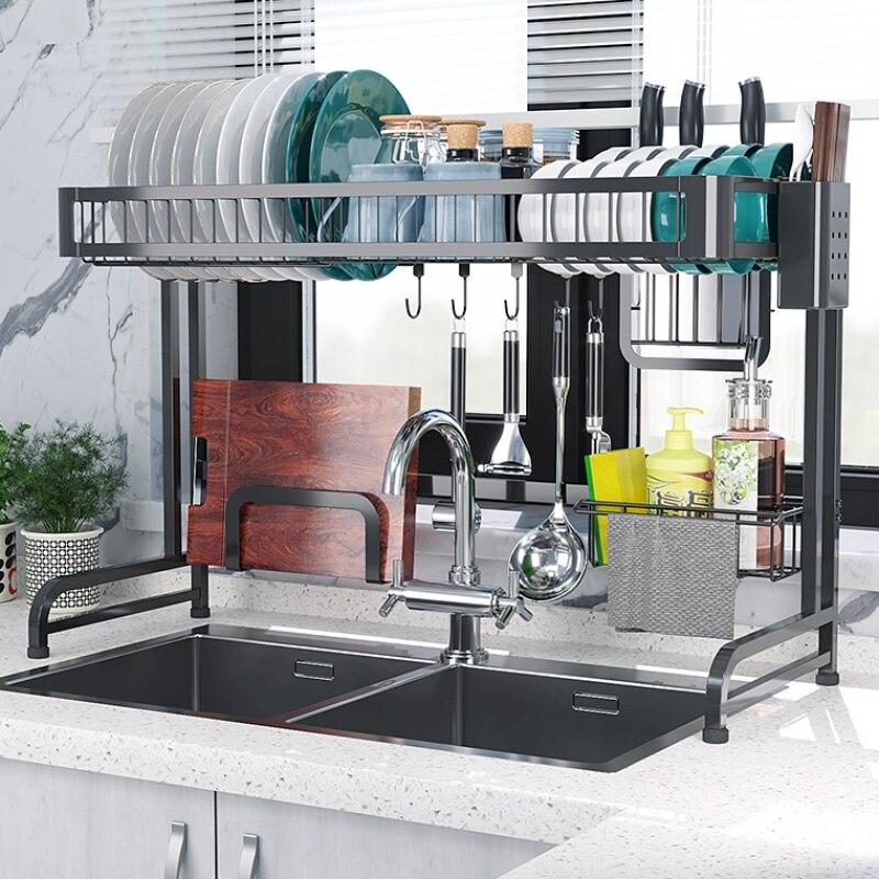 Metal Dish Drainer Sink Holder Strong Bearing Capacity Plate Rack Kitchen  Dryer Wall Hooks  Organizer Storage Shelf|Racks & Holders| |  - title=