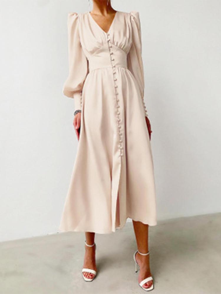 A-Line Dress Spring Bishop-Sleeve Satin Simplee Chic Elegant Vintage High-Waist Women