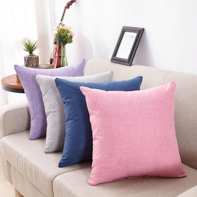 Cushion Covers Solid Color Throw Pillow Case Sofa Decorative Square Cotton Linen Cushion Cover Pillow Covers 18 x 18 inches