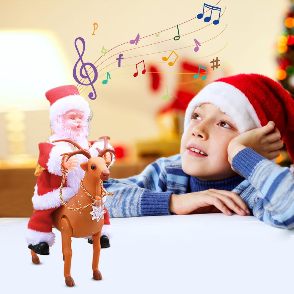 Santa Claus Riding Deer Electric Music Doll Toy Xmas Ornament Creative Kid Gift Entertainment And Ornamental Integration