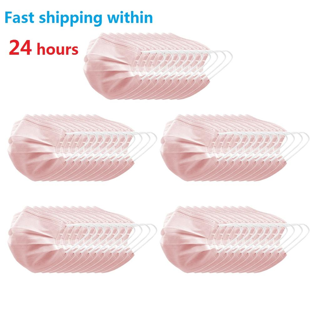 10/20/50/100pcs 3 Ply Disposable Face Masks Anti Dust Prevents Protective Mask Face Masks Droplets Spreading Pink