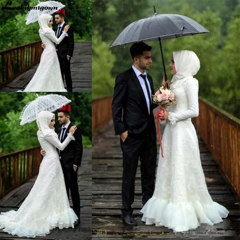 Moslemisches Hijab Hochzeit Kleider Langarm Elegante Spitze Appliques High Neck Brautkleider Nach Maß Plus Größe robe de mariee - 2