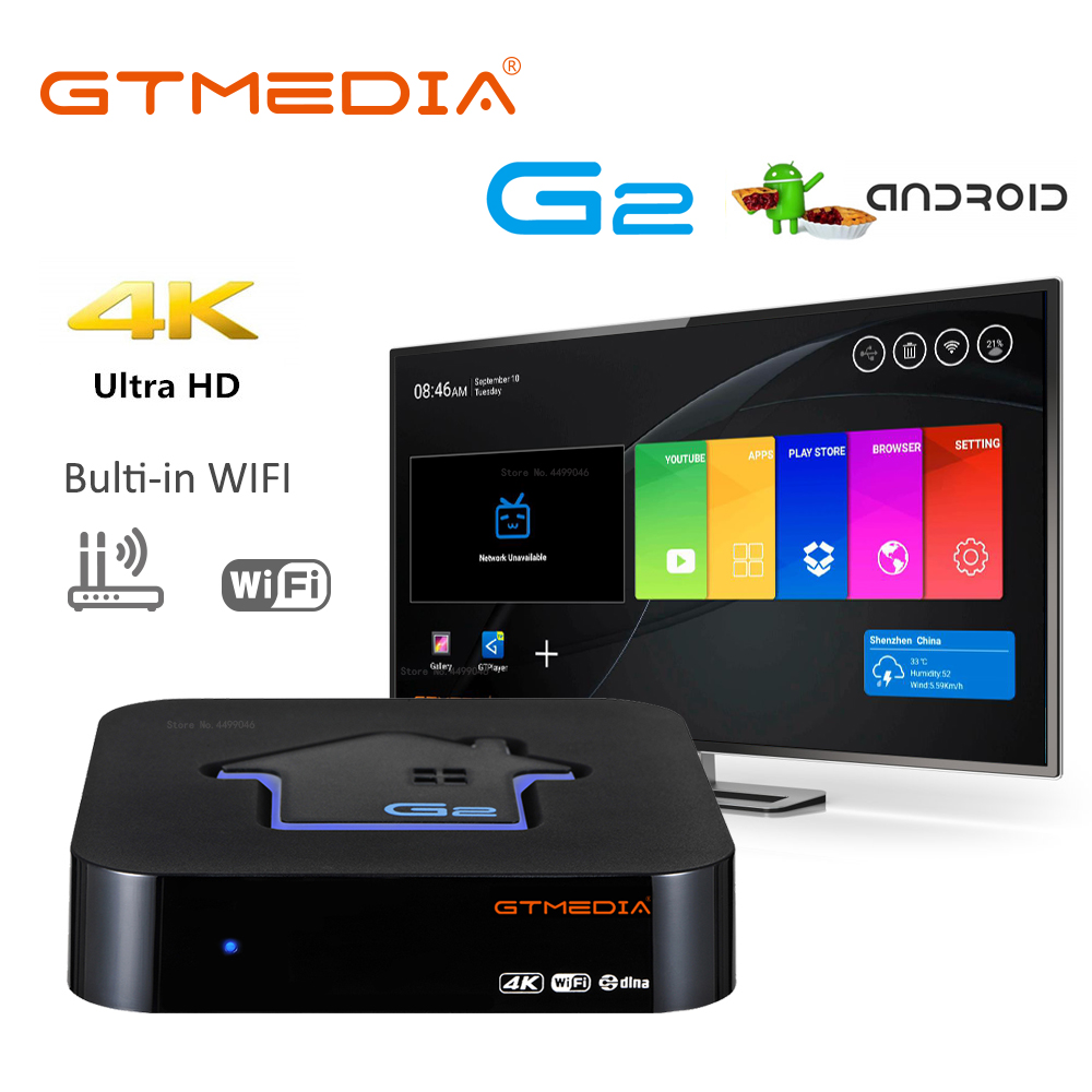 👍 GTmedia G2 Android TV Box, 4k Ultra HD Amlogic S905W Quad Core ARM 2GB + 16GB 2.4G WIFI Smart Cast Media Player Set Top Box