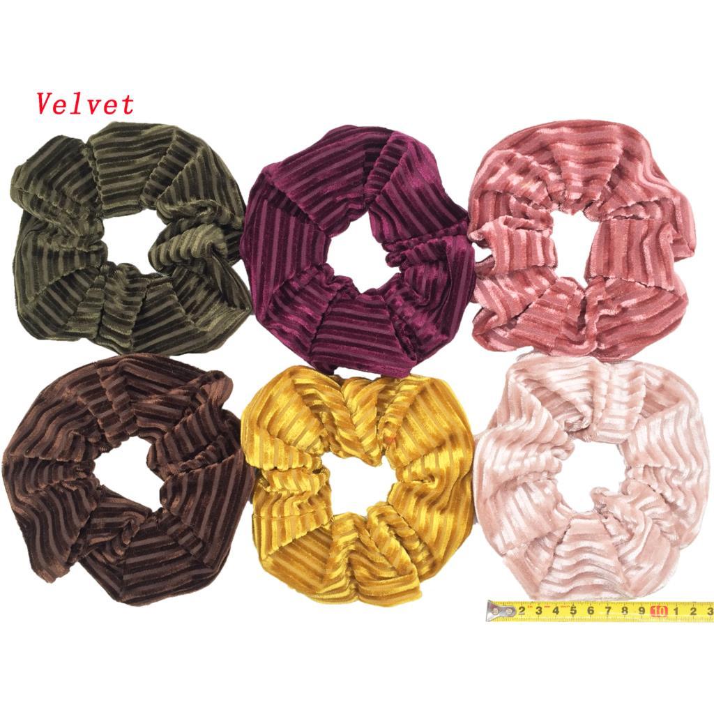 6 шт/лот Бархатные эластичные резинки для волос, резинки для волос для девочек, не складываются, леопардовые женские большие мелкие блестки из шифона с цветочным рисунком - Цвет: PJ059-B-6PCS