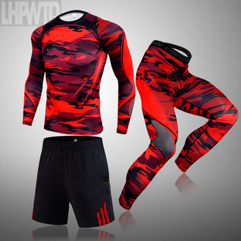 3-piece sets Compression Suits Men's Quick Dry set Clothes Sport Running MMA jogging Gym work out Fitness Tracksuit clothing 29