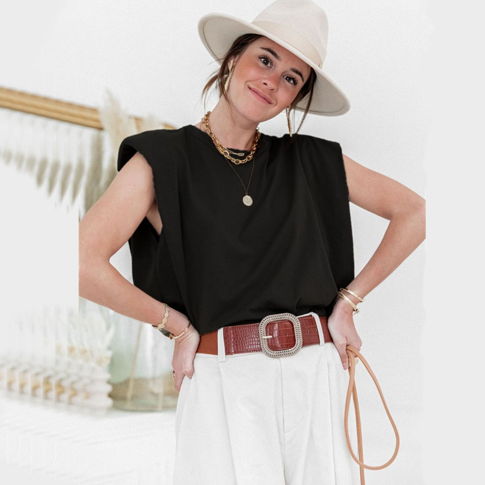 Cotton Shoulder Padded Women T Shirt O Neck Sleeveless Solid Female T Shirt 2020 Summer Casual Loose Ladies Top Tees