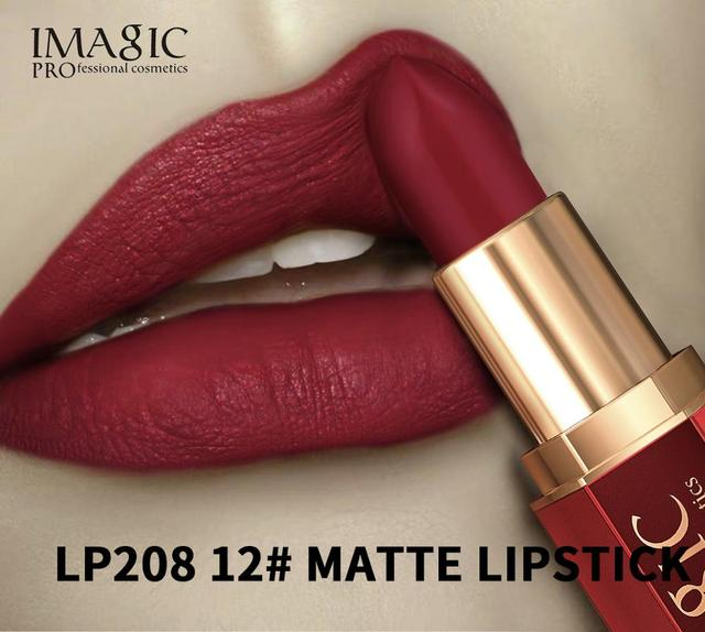IMAGIC 12 Colors Matte Lipsticks Crystal Column Matte Lipstick Lip Sticks Cosmetic Easy to Wear Lipstick Matte Batom 1