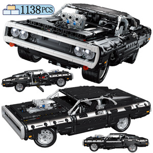 1138PCS New Creator City technic racing car Dom S Dodged Charger Supercar Building Blocks MOC Vehicle BricksToys for children(China)