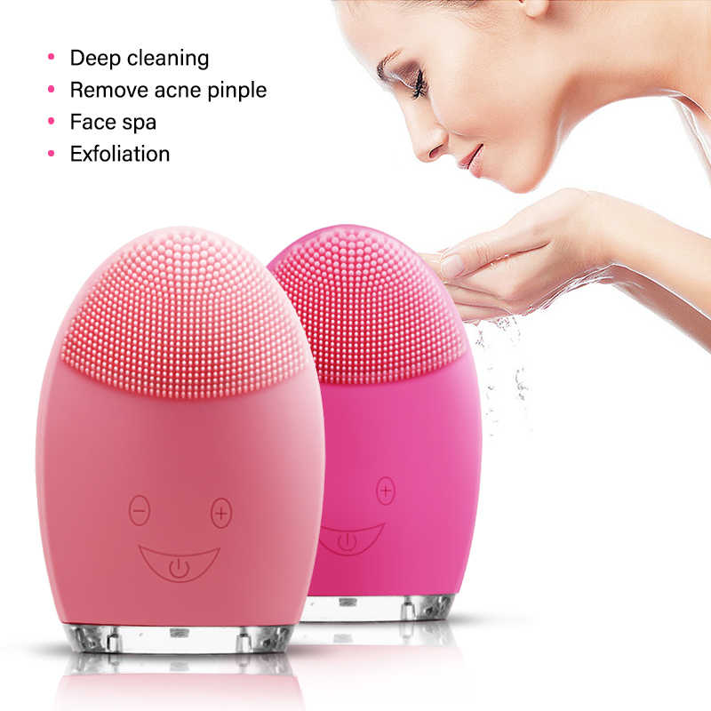 Rechargeable Electric Waterproof Silicone Facial Cleansing Device Face Cleaning Machine Comfortable Massage Brush Tools Dropship