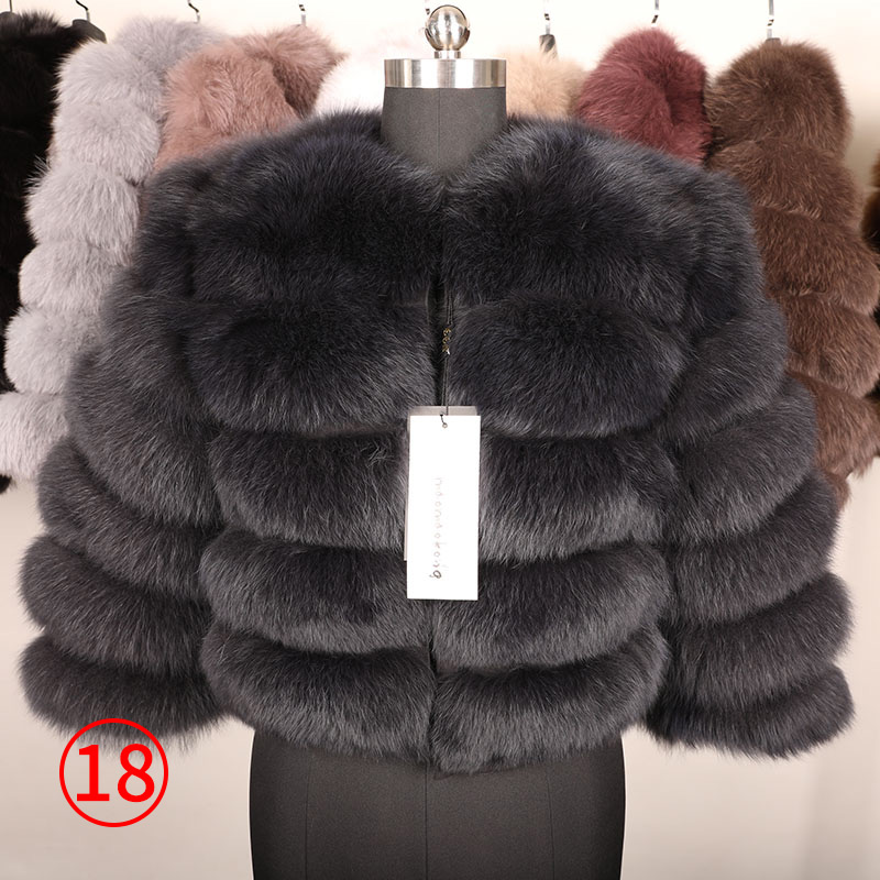 maomaokong 50CM Natural Real Fox Fur CoatWomen Winter natural fur Vest Jacket Fashion silm Outwear Real Fox Fur Vest Coat Fox 32
