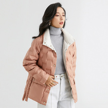 2021 New Version Winter Women Light White Coat Korean Female Solid Puffer Jacket Thicken Warm Stand Short Lady Outwear