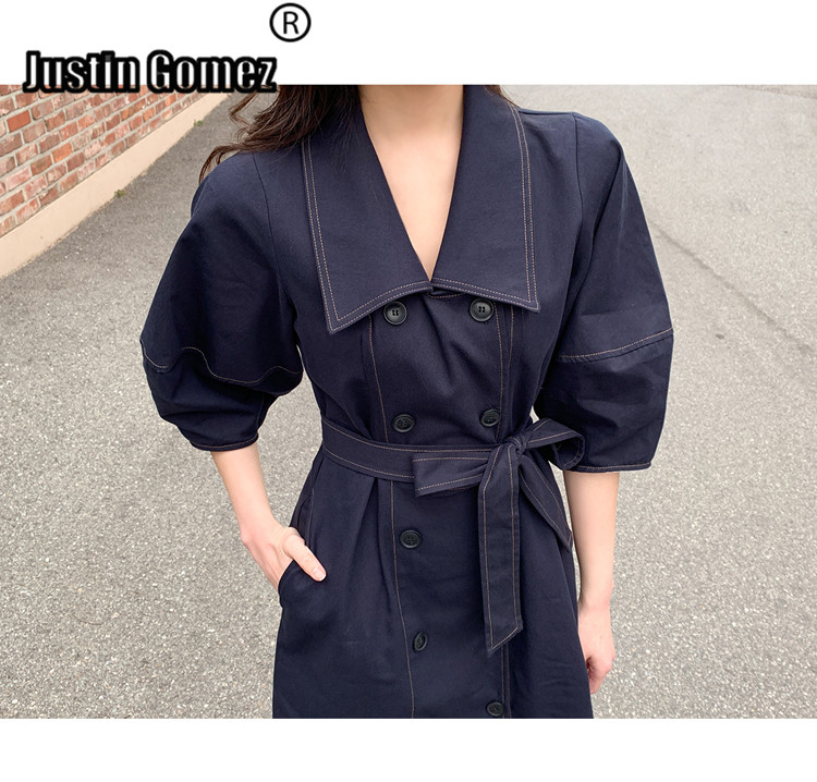 BF Style Harajuku Chic Women's   Trench   Outwear with Belt Uniqu Original Design Big Hemp Long   Trench   Coat for Office Lady Overcoat