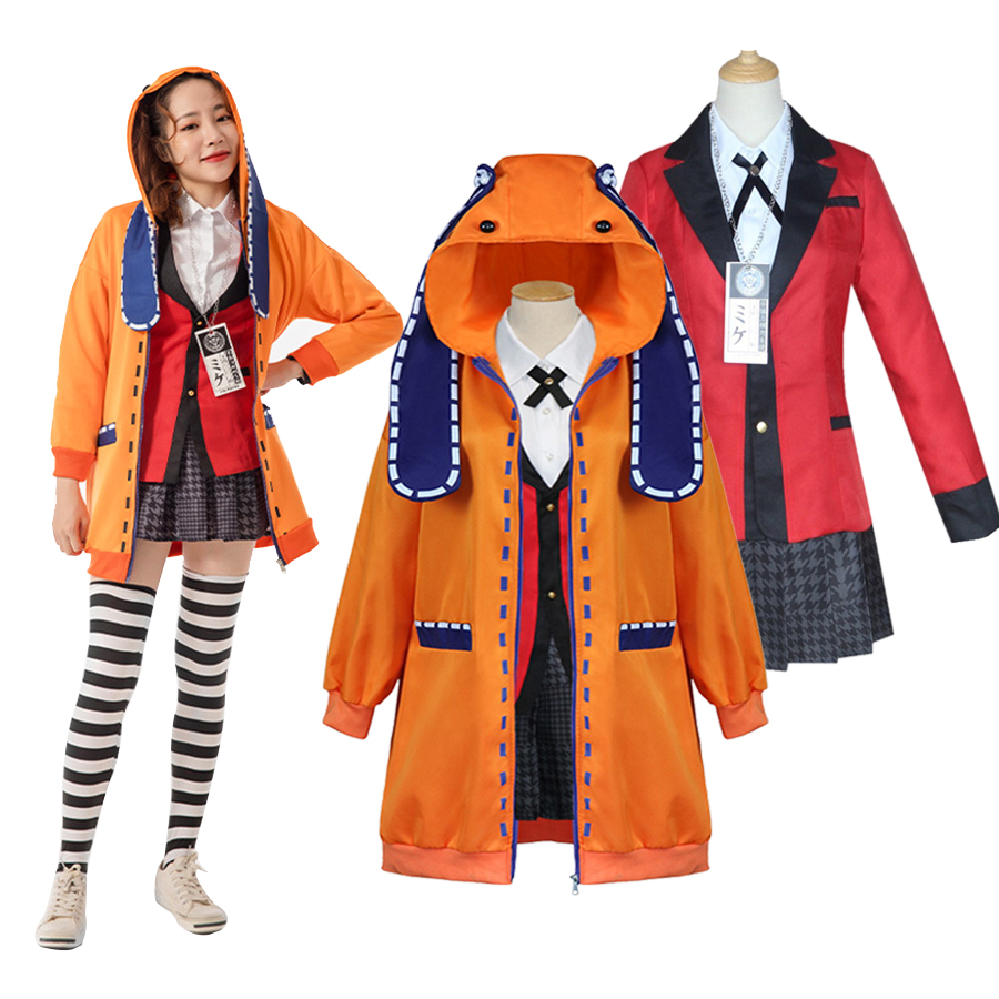 Anime Kakegurui Cosplay Costumes Runa Yomozuki Cosplay Hoodie Kakegurui School Uniform Coat Skirt Halloween Costume For Women