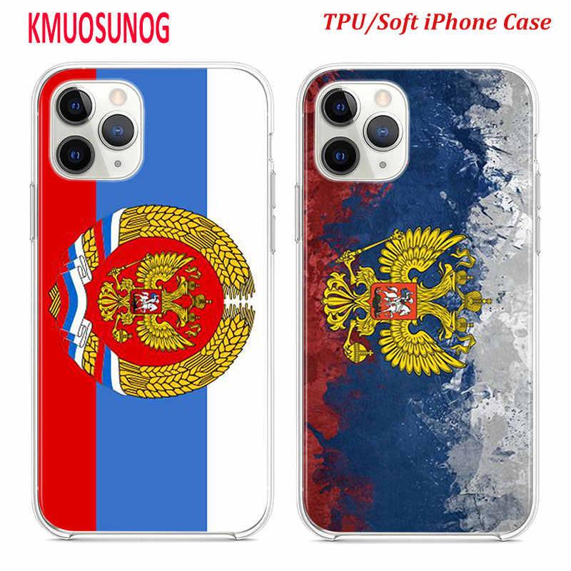 ซิลิโคน TPU สำหรับ iPhone 11 11Pro XS MAX XR X รัสเซีย federation flag สำหรับ iPhone 8 7 6S 6 Plus 5S
