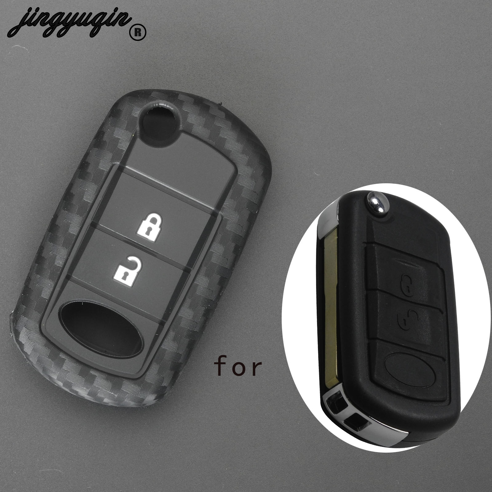 Jingyuqin Carbon Fiber Silicone Car Key Case Fob Cover For LAND ROVER Range Rover Sport LR3 Discovery Protected 3 Buttons