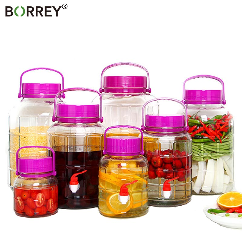 BORREYThicken Glass Pickle Jars Winemaking Korea Kimchi Jar Large-Capacity Sealed Tank Sauerkraut Container Food Pickling Bottle