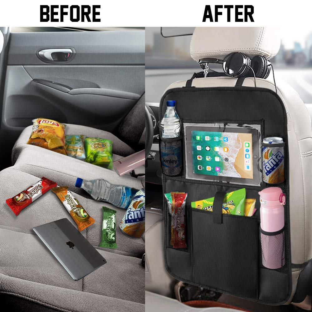Car Backseat Storage Organizer Car Seat Back Protectors With Clear 10 Inch Tablet Holder And Storage Pockets Back Seat Organizer