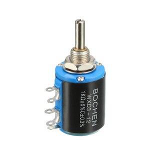 Uxcell 1K Ohm регулируемые резисторы проволочный многооборотный прецизионный потенциометр горшки общая Размеры 20,5x47,7 мм, вал, Диаметр 4 мм